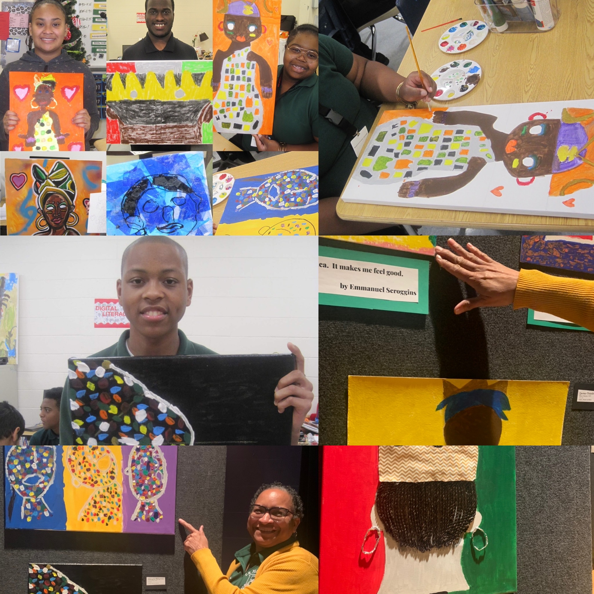 CRI students black history month art exhibit chf